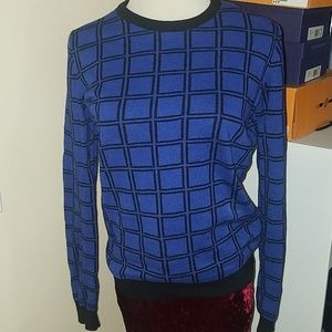 Sweaters - Blue and black square sweater. Small